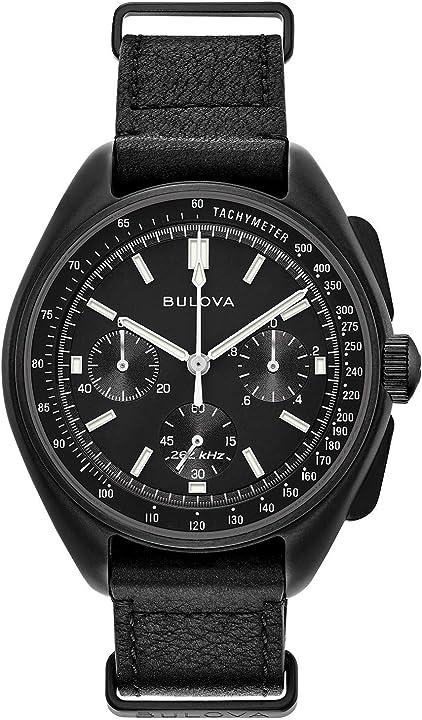 Bulova orologio analogico quarzo uomo con cinturino in pelle 98a186