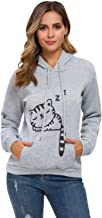 Cat Hoodies for Women Girls Cute Cat Ears Novelty Sleeping Cat Pullover Sweatershirt