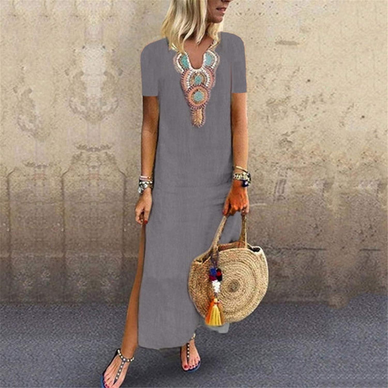 ZYAPCNGN Dress for Women Print V-Neck Side Slit Bohemian Dresses Shift Boho Maxi Dress Maxi Dress Summer Dresses