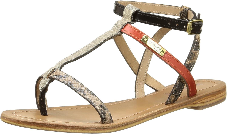 LES TROPEZIENNES par M BELARBI Womens Baie Flat Leather Sandals Red Size 36