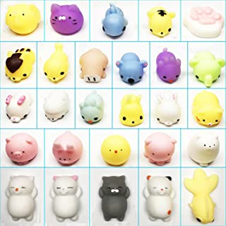 SCStyle 27 Styles Cute Mochi Animals Kawaii Tiny Squishies Mini Soft Squishy Toys Cat Stretchy Animal Stress Relief Seal Squeeze Fidget Toy for Kids Gift Random Color Set of 27 Pack different of toys
