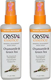 product image for CRYSTAL Chamomile & Green Tea Crystal Essence Body Spray (Pack of 2) with Potassium Alum (a Natural Mineral Salt) and Natural Preservatives, Contains No Harmful Chemicals, 4 oz