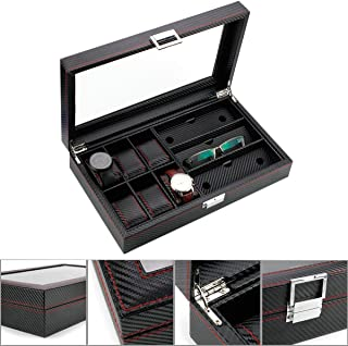Royal Brands Watch Box Organizer Tray Carbon Fiber Pattern Display Jewelry Storage Case (6 Slots + 3 Eyeglass)