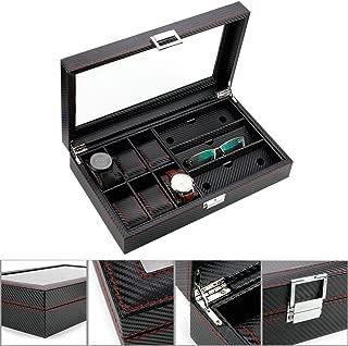 Royal Brands Watch Box Organizer Tray Carbon Fiber Pattern Display Jewelry Storage Case (6 Slots + 3 Eyeglass)