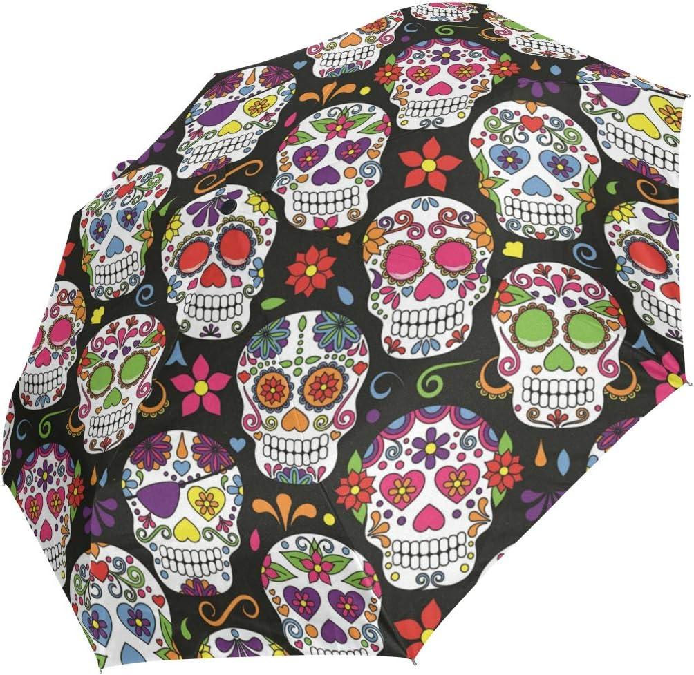 AHOMY Windproof Travel Max 86% OFF Umbrella Philadelphia Mall Sugar Compact Umbr Skull Folding