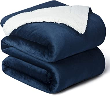 Bedsure Sherpa Fleece Blankets Twin Size - Navy Blue Thick Fuzzy Warm Soft Twin Blanket for Bed, 60x80 Inches