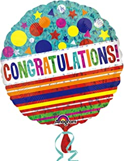 """Anagram """"Congratulations """" Shapes and Stripes Holographic Foil Balloon, 46cm"""