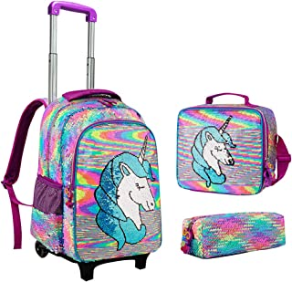 Mochila con Ruedas Niña, Lentejuelas Mochila Trolley Mochila Escolar Unicorn con Bolsa de Almuerzo Hombro Estuche para Lápices Mochila Carro para Viajes Escolares