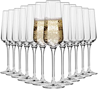 Krosno Copas Flauta Boda Cava de Champán   Conjunto 12 Piezas   180 ML   Avant-Garde Collection Uso en Casa, Restaurante y...