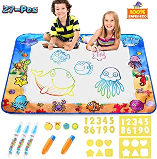 Aqua Magic Doodle Mat Kids Painting Writing Doodle Board Toys Mess Free Water Drawing Doodle Mat Large Size 40 X 28 inches Magic Pens Educational Toys Toyss for Boys Girls Toddlers Age 1 2 3 4 5 6year