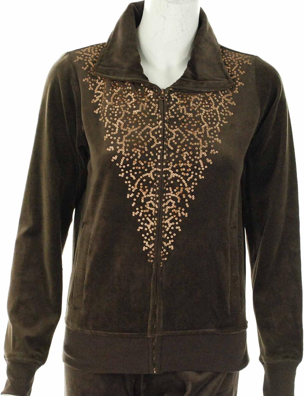 Ellen Tracy Women's Velour Embellished Jacket