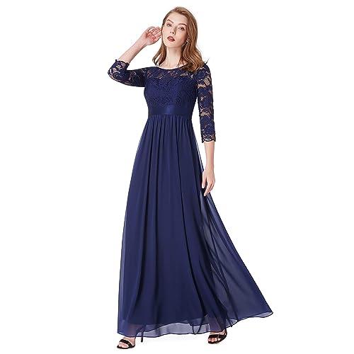 aaa044777016 Ever Pretty Womens Elegant 3/4 Sleeve Lace Long Evening Dress 08412