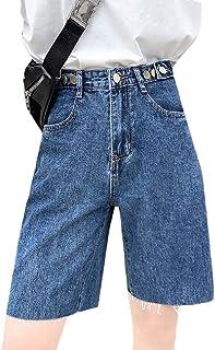 KLJR Women Cut Off High Rise Bermuda Summer Straight Leg Denim Shorts Jeans Hot Pants