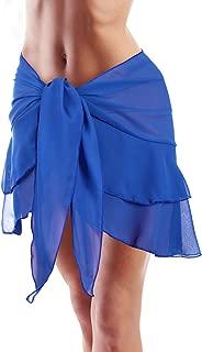 Women Swimsuit Wrap Beach Wrap Chiffon Pareo Bikini Skirt Ruffle Sarong Wrap (Blue-Double Layer, 66.9 x 16.1 Inch)