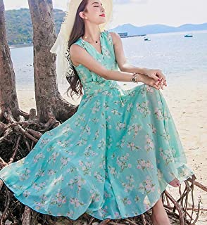 ABDKJAHSDK Summer Bohemian V-Neck Floral Print Collection Waist Ladies Chiffon Maxi Dress