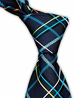 Blue Charcoal Tie with Multicolored Plaid Check Tartan Necktie by TieThis   The Logan Tie