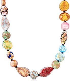 Italian Multicolored Murano Glass Bead Necklace With 18kt Gold Over Sterling