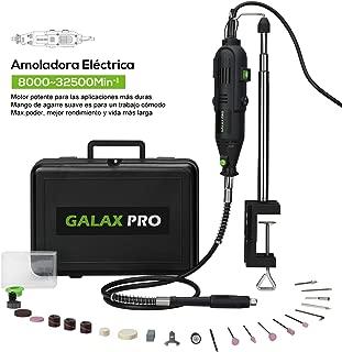 Amoladora Eléctrica, GALAX PRO 130W, 6 Velocidades Variables (8000-32500 RPM) Mini Herramienta Rotativa, 40 Accesorios, Juego de Taladro con eje Flexible, Mandril Universal con Estuche