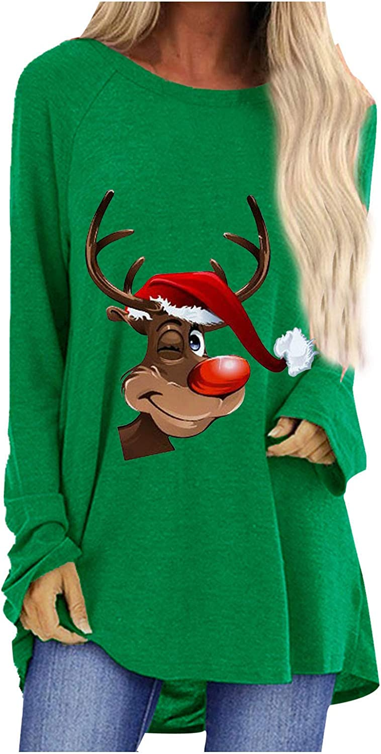 FUNEY Casual Loose Round Neck Christmas T-Shirt Top Blouse Long Sleeve Reindeer Print Pullover Sweatshirt for Women