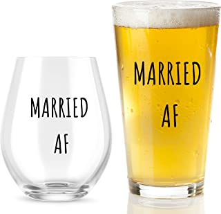 Married AF Wine Glass And Beer Glass Gift Set - Funny Mr And Mrs Wedding Or Engagement Gifts - Great For Couples, Newlywed...