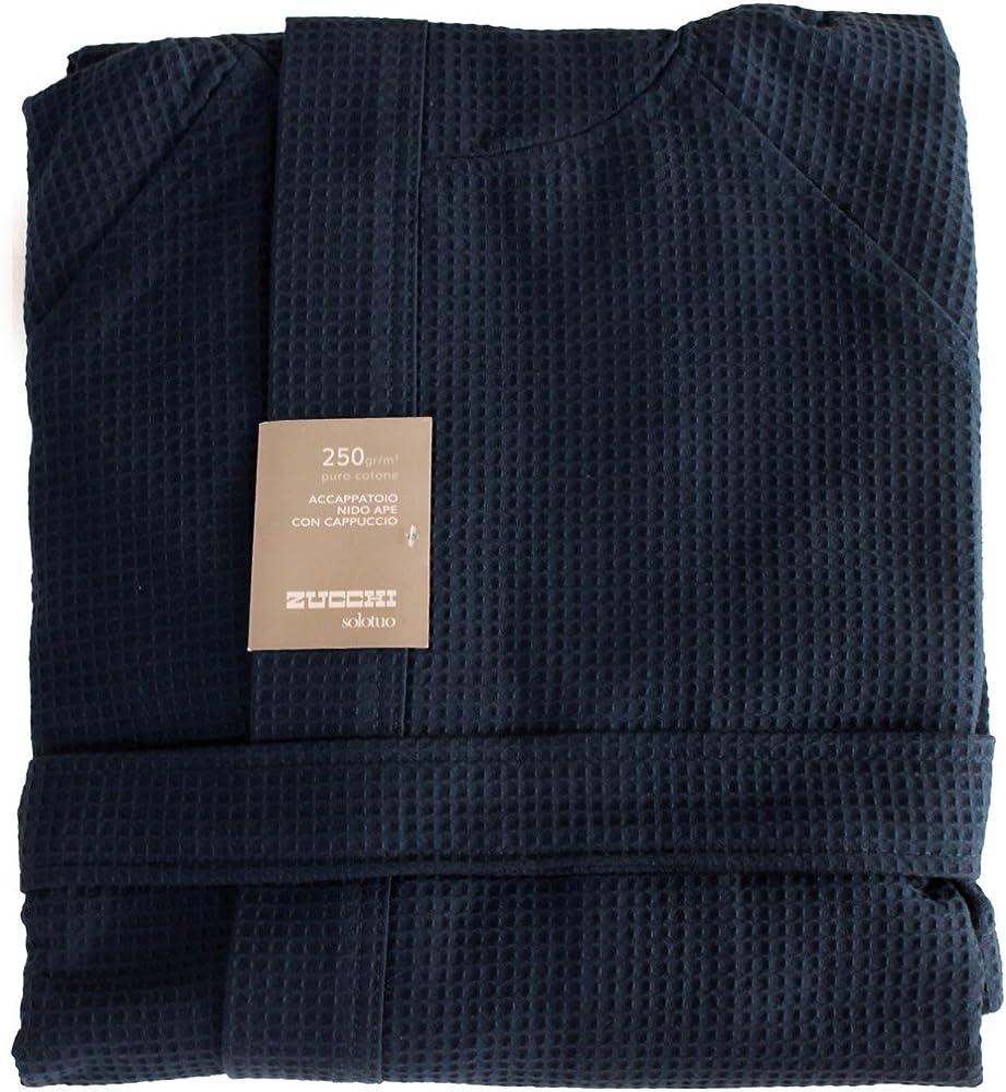 Accappatoio con cappuccio zucchi solotuo ,unisex ,100% puro cotone Blu - V. 2395