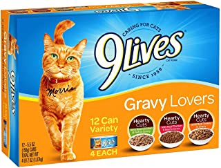 9Lives Gravy Favorites Wet Cat Food Variety Pack, 5.5Oz Cans (Pack Of 12), Pack