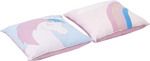 Hoppekids Kissen-Set, Unicorn Einhorn (2 Stück.), Baumwolle Schaum, Blau Rosa, 50 x 50 x 15 cm