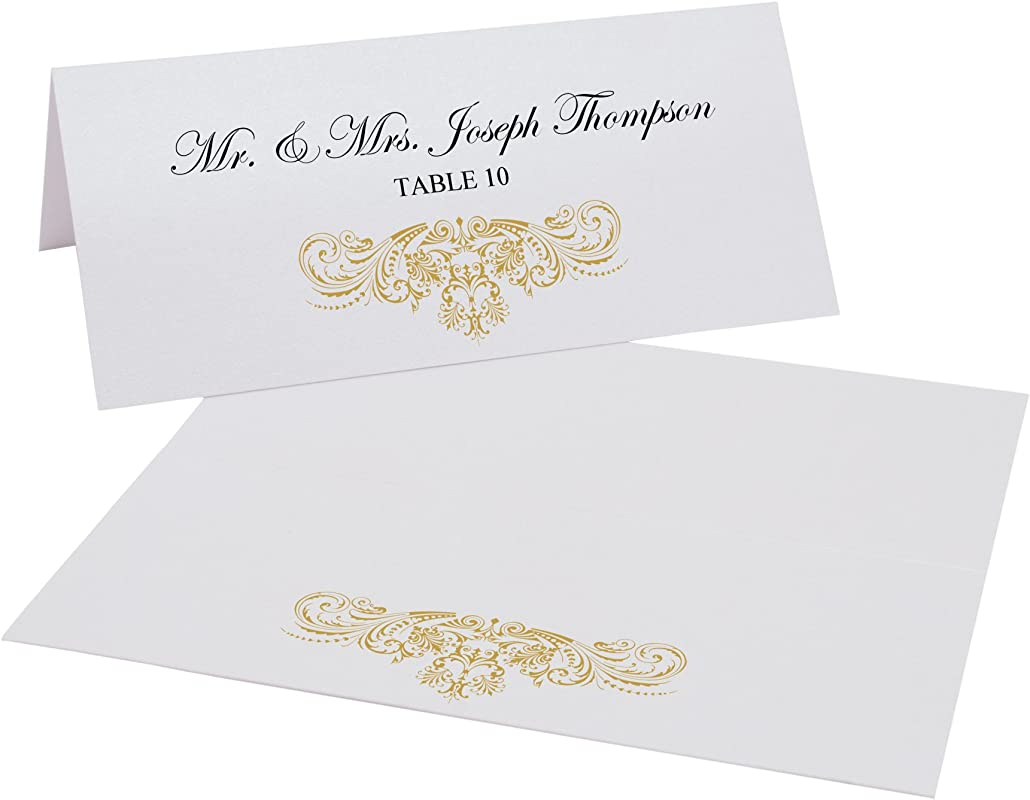 Documents And Designs Vintage Frame Easy Print Place Cards Gold Set Of 60 10 Sheets