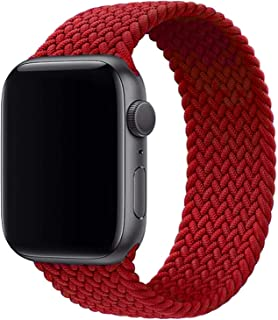 Boutique Braided Solo Loop Watch Band for Apple Watch series 6/SE/5/4/3/2/1 with 44mm 42mm Elastic Nylon Straps (Cherry Re...