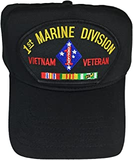 1ST MARINE DIVISION VIETNAM VETERAN WITH CAMPAIGN RIBBONS HAT - BLACK - Veteran Owned Business