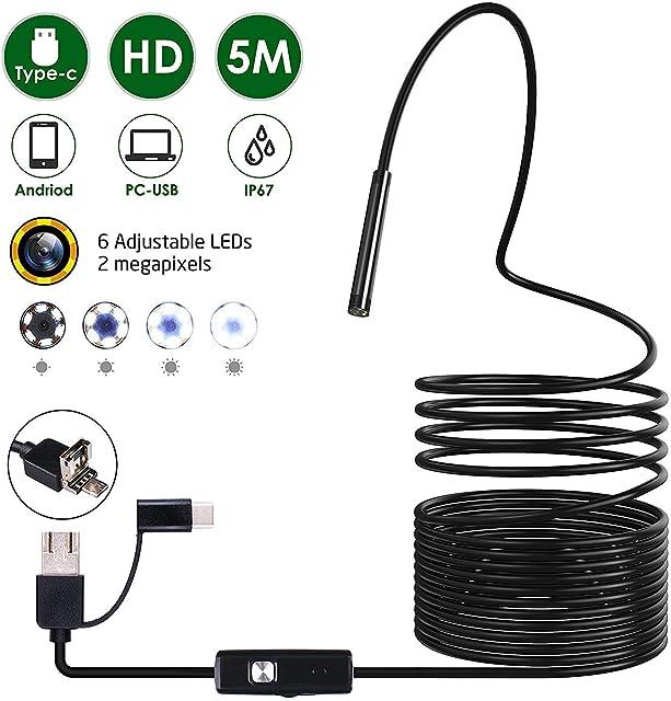 Omew Endoscopio USB Cámara de Inspección 3 en 1 Tipo-c Micro USB y PC Cámara de inspección con boroscopio Android - Equipo Combo de endoscopio de 5 Metros. para Android teléfonos Inteligentes