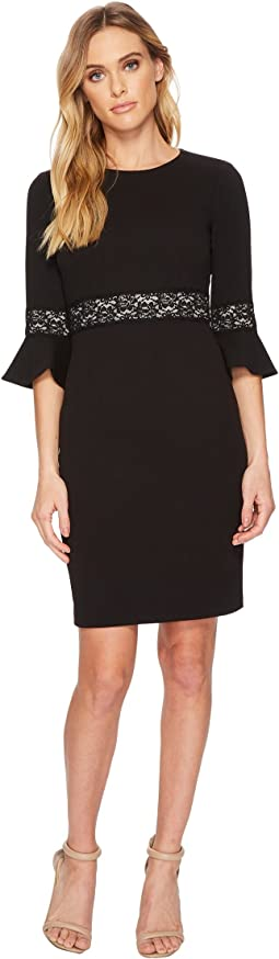 Donna Morgan - 3/4 Bell Sleeve Shift Dress w/ Lace Inset at Wrist and Waist
