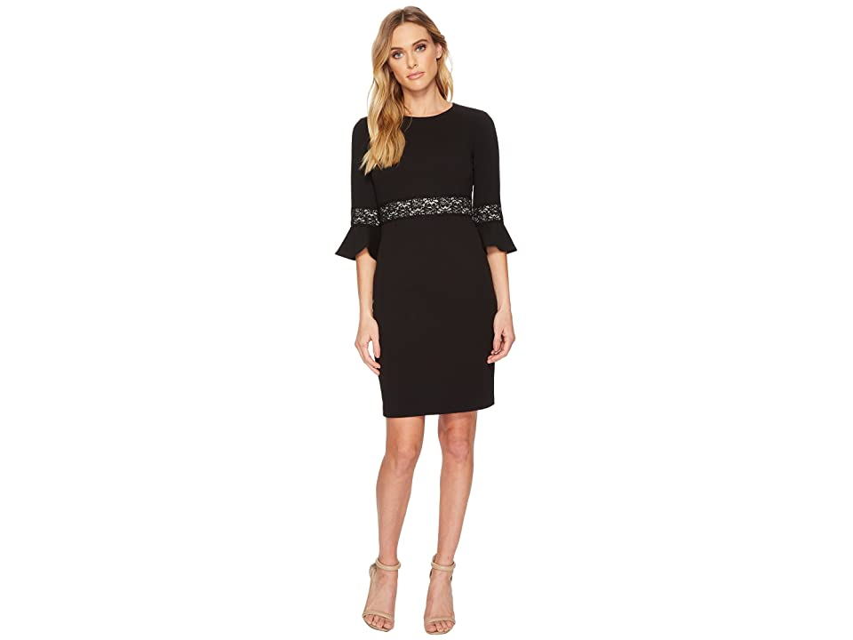 Donna Morgan 3/4 Bell Sleeve Shift Dress w/ Lace Inset at Wrist and Waist (Black) Women
