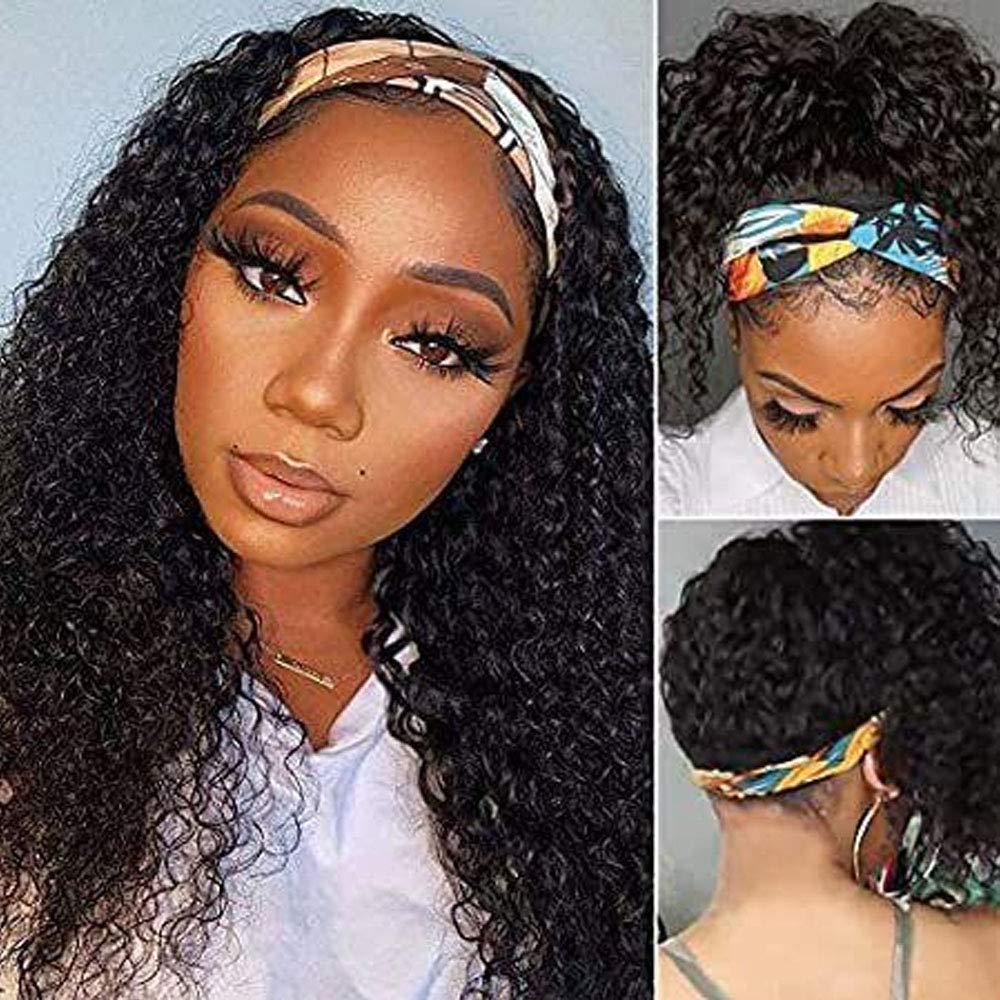 100% 2021new shipping free shipping Brazilian Human Hair Headband Scarf Wig Outstanding Hum Deep Wave Curly