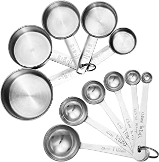 Accmor 11 Piece Stainless Steel Measuring Spoons Cups Set, Premium Stackable Tablespoons Measuring Set for Gift Dry Liquid...