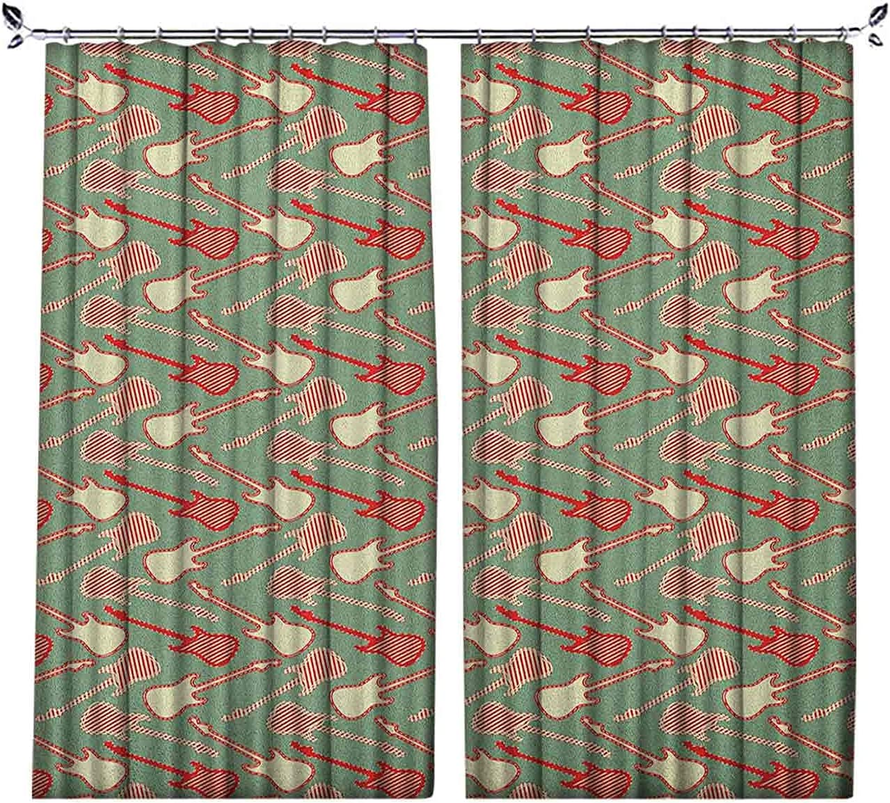 Pinch Pleat Textured Guitar Curtains Colored El Limited unisex Special Price Striped and Two