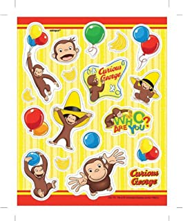 Curious George Sticker Sheets - Birthday and Theme Party Supplies - 4 Per Pack