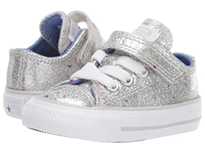 Converse Kids Chuck Taylor(r) All-Star(r) 1V Galaxy Glimmer Ox (Infant/Toddler) (Silver/Ozone Blue/White) Girls Shoes