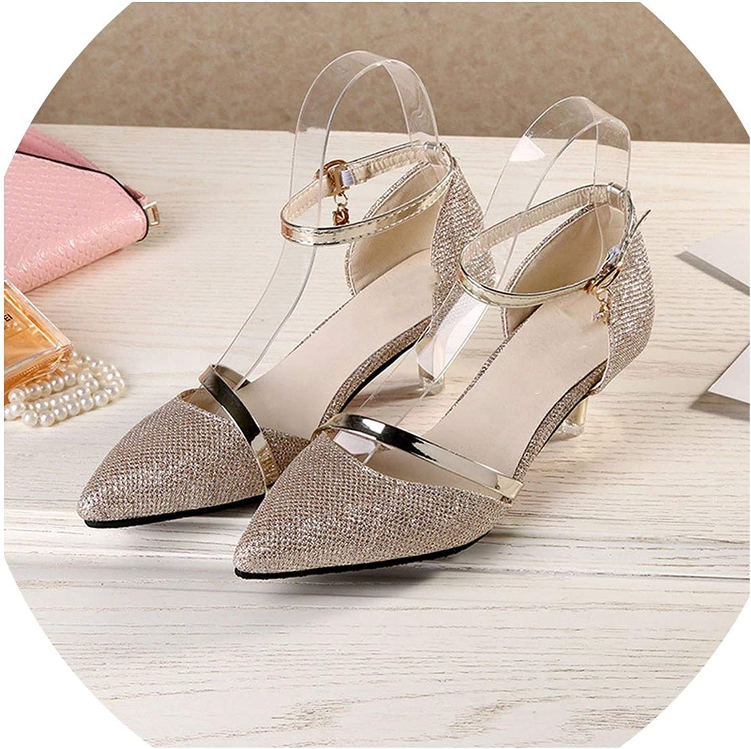 High Heels gold Silver Birde Rhinestones Summer Sandals Ladies