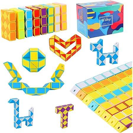Ulikey 8 Pezzi 24 Blocchi Cubi di Serpente, Magico Twistato Cubo velocità, Mini Giocattolo Puzzle Cubo di Plastica per Bambini Festa Sacchetto di Riempimento Bomboniere per Feste