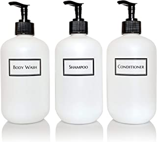 Artanis Home Silkscreened Empty Shower Bottle Set for Shampoo, Conditioner, and Body Wash, Squat 16 oz 3-Pack, White (Black Pumps)