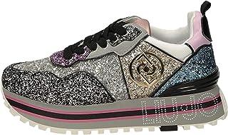Liu Jo Maxy Wonder Maxy Wonder Glitter Multicolore Sneakers per Donna con Zeppa Glitter Nabuk Pelle