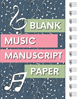 Blank Music Manuscript Paper: Wide Staff Music Writing Notebook for kids and Adults with 12 Steaves on Each Page