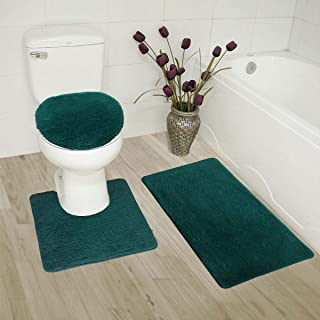MK Home Collection 3 Piece Bathroom Rug Set Bath Rug, Contour Mat & Lid Cover Non-Slip with Rubber Backing Solid Hunter Green New