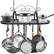 Support de pot de plafond, support suspendu en métal noir Organisateur de rangement de cuisine Ustensiles de cuisine mult...