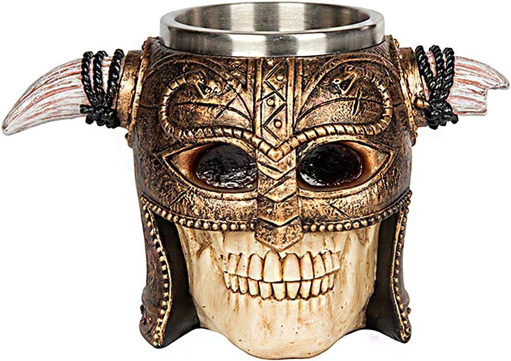 Jarra Taza para Beber Calavera Medieval, Recipiente para Beber Gótico Pintado A Mano Resina Fundida Calidad, Taza Revestimiento de Acero Inoxidable 3D Viking - 460 Ml (16 Oz),Warrior Skull