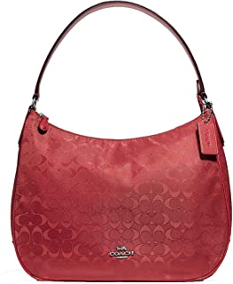 COACH F73185 ZIP SHOULDER BAG IN SIGNATURE NYLON RED SILVER