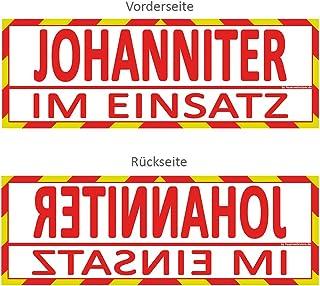 Feuerwehrstore Johanniter im Einsatz Wendeschild WSB2 für die Sonnenblende in Normal  & Spiegelschrift Johanniter
