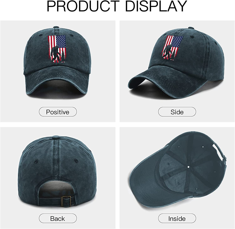 American Flag Bigfoot Hat Funny Baseball Cap Unisex Adjustable Cap Four Seasons Trucker Hat