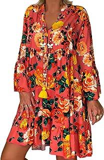 VEMOW Vestido Mujer Faldas Ropa de Verano con Mangas Tres Cuartos y Estampado Suelto para Mujer
